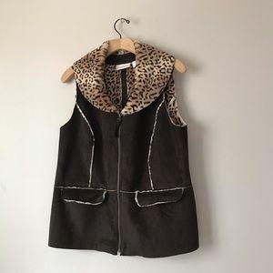 Chico's faux fur suede leather vest animal print